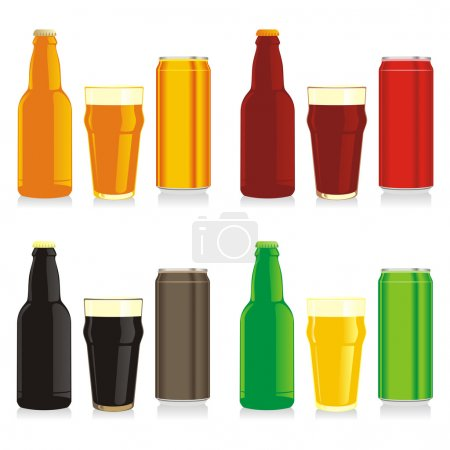 Beer bottles, glasses and cans