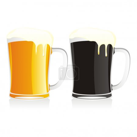 Isolated two beer mugs
