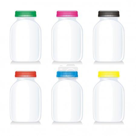 Isolated milk glass bottles