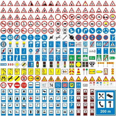Illustration for Fully editable vector illustration of isolated european road signs - Royalty Free Image