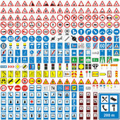 Fully editable vector illustration of isolated european road signs
