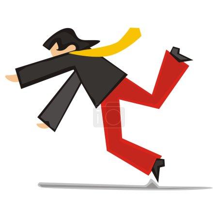 Illustration of stylized man falling down