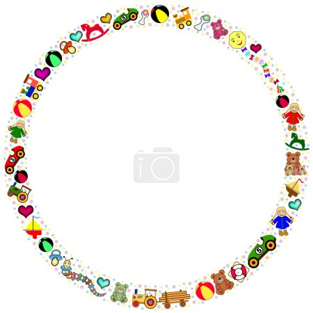Round colorful toys border