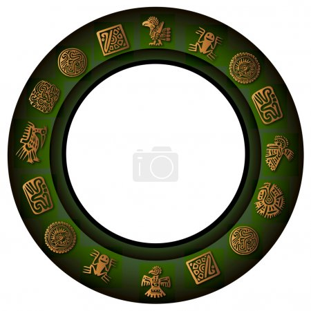 Round green border with mexican signs and symbols