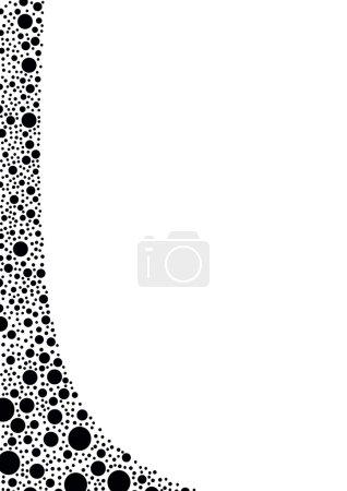 Illustration pour Fond blanc avec une bordure gauche incurvée à partir de points noirs - image libre de droit