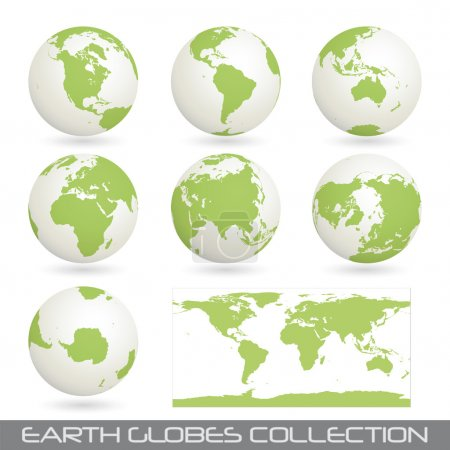 Illustration for Collection of earth globes end a map isolated on white, vector illustration - Royalty Free Image