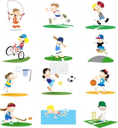 Illustration for Cartoon-style vector illustrations of kids playing a variety of sports. If purchasing the vector it would be easy to remove the backgrounds for each character. - Royalty Free Image