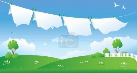 Illustration of drying laundry at a green field...