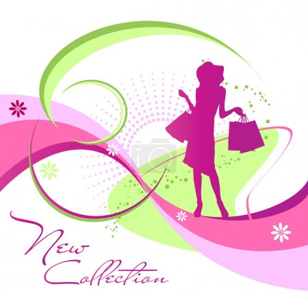 Illustration for Silhouette of modern woman on an abstract background - Royalty Free Image