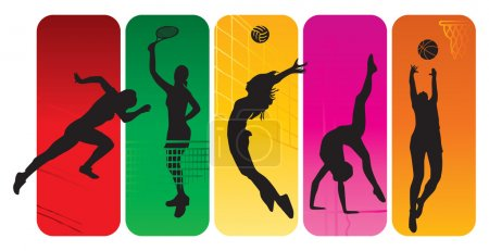 Photo for Sport silhouettes on an abstract background - Royalty Free Image