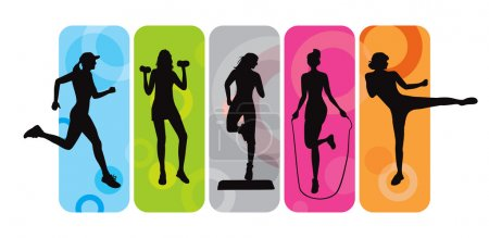 Illustration for Sport silhouettes on an abstract background - Royalty Free Image
