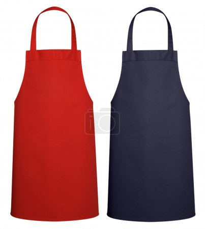 Photo for Blue and Red Kitchen Apron (industrial) isolated on white background with clipping path. - Royalty Free Image