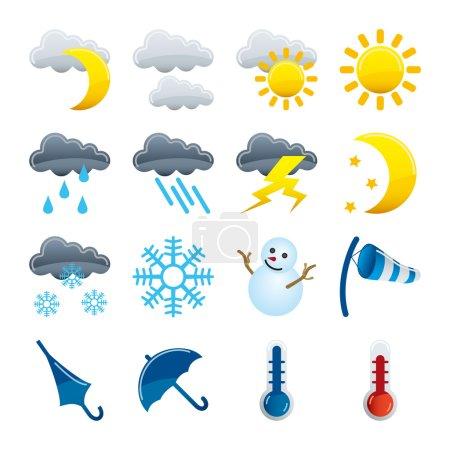 Illustration pour Ensemble d'icônes météo - image libre de droit
