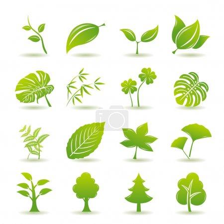 Illustration pour Icônes de feuilles vertes. Nature & écologie image . - image libre de droit