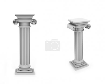 Photo for Two views of marble columns isolated on white - Royalty Free Image