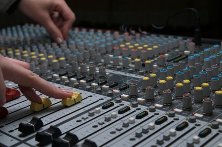 Professional sound mixer closeup