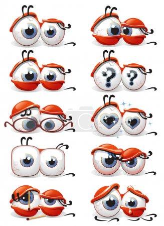 Illustration pour Vector illustrations dessinées des yeux dans les dix différentes émotions sur un fond blanc, qui peut être utilisé sous la forme de sourires pour les communications web - image libre de droit