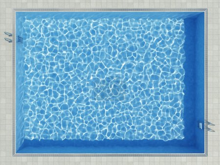Blue water pool surface top view