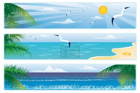 Illustration for Summer banner with palm trees. vector - Royalty Free Image
