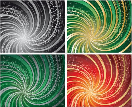 Set four backgrounds with poker elements