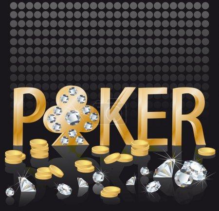 Illustration pour Diamant fond d'or, vecteur illustration poker thème avec des pièces d'or et des diamants - image libre de droit