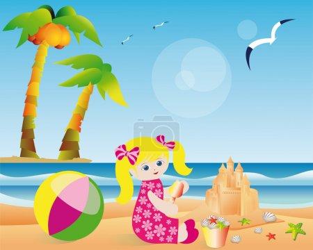 Summer card, girl builds a sand castle. vector