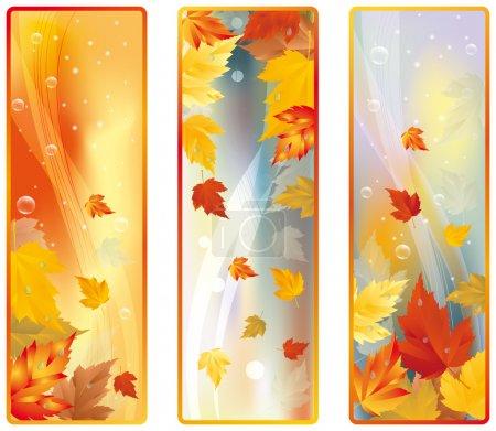 Set Vertical Autumn banners, vector