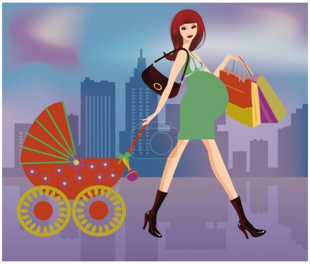 Shopping Pregnant women, vector illustration