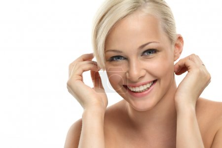 Photo for Image with beautiful smiling blonde girl on white background close-up - Royalty Free Image