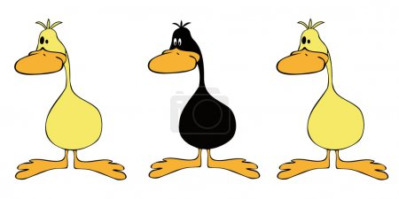 Illustration for Yellow ducks group with one black. - Royalty Free Image