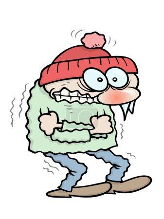 Illustration pour Un gars frissonnant de toon d'hiver avec des glaçons suspendus à son nez, se serrant dans ses bras pour garder au chaud - image libre de droit