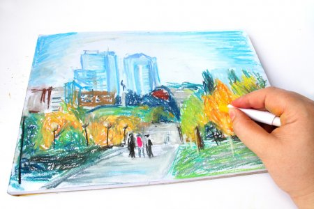 Modern Ukraine city Dnipropetrovsk hand drawing with soft pastel