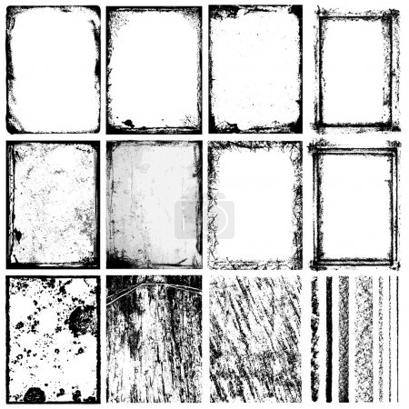 Illustration for Set of grunge frames & textures. The textures are independent to framework. - Royalty Free Image