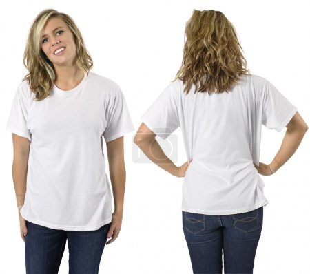 Photo for Young beautiful blond female with blank white shirt, front and back. Ready for your design or logo. - Royalty Free Image
