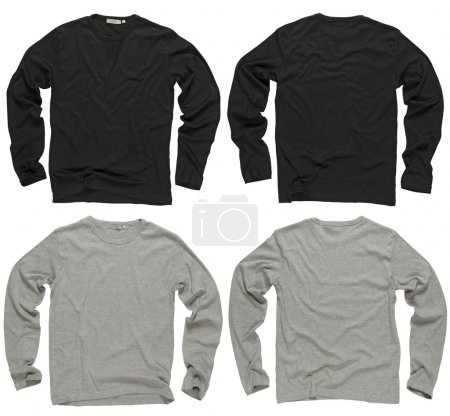 Photo for Photograph of two wrinkled blank black and gray long sleeve shirts, fronts and backs. Clipping path included. - Royalty Free Image