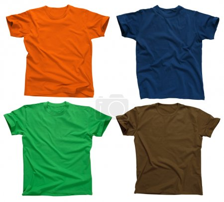Photo for Photograph of four blank t-shirts, green, dark blue, brown, and orange. Clipping path included. Ready for your design. - Royalty Free Image