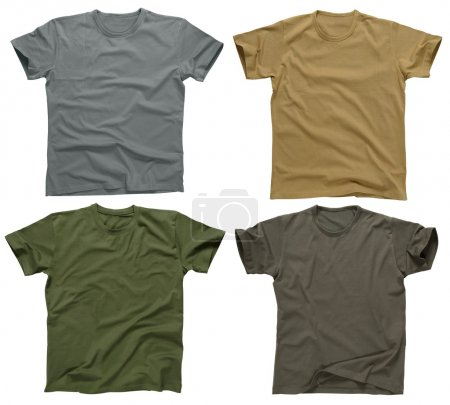Photo for Photograph of four blank t-shirts, greys, beige, and army green. Clipping path included. Ready for your design or logo. - Royalty Free Image