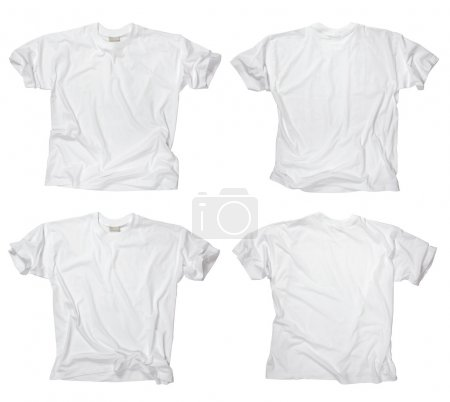 Photo for Photograph of two wrinkled blank white t-shirts, fronts and backs. Clipping path included. Ready for your design or logo. - Royalty Free Image
