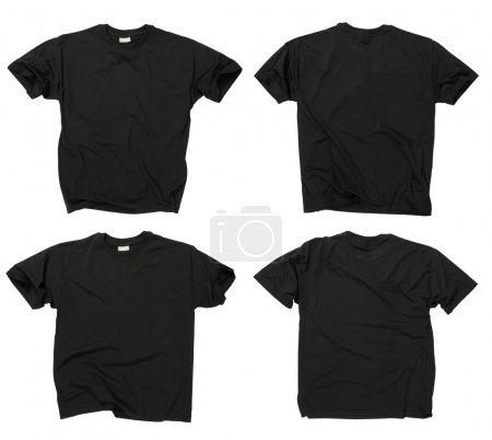 Photo pour Photographie de deux t-shirts blancs ridés noirs, devant et derrière. Chemin de coupe inclus. Prêt pour votre conception ou logo . - image libre de droit