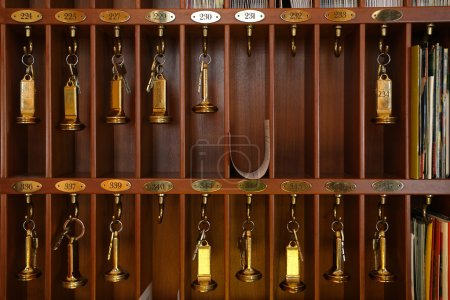 Photo for Vintage hotel front desk key rack. Focus on the top row of keys. - Royalty Free Image