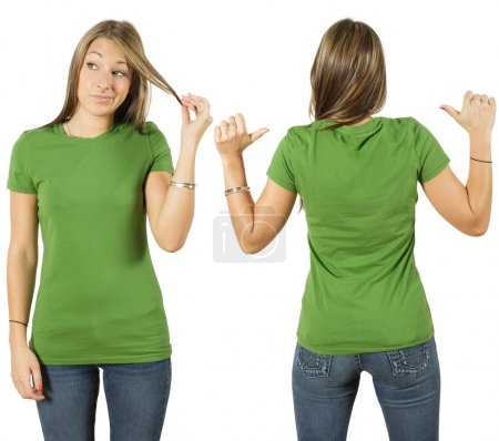 Photo for Young beautiful female with blank green shirt, front and back. Ready for your design or logo. - Royalty Free Image