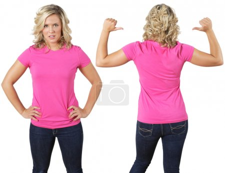 Photo for Young beautiful female with blank pink shirt, front and back. Ready for your design or logo. - Royalty Free Image