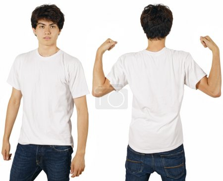 Photo for Young male with blank white t-shirt, front and back. Ready for your design or logo. - Royalty Free Image