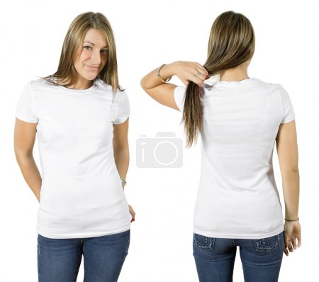 Female wearing blank white shirt