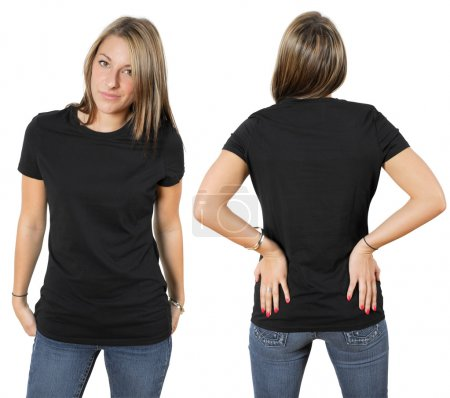 Photo for Young beautiful female wearing blank black shirt, front and back. Ready for your design or logo. - Royalty Free Image