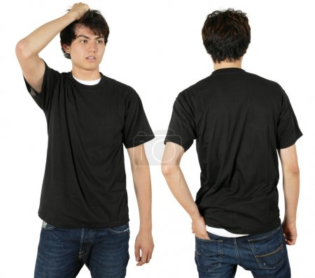 Photo for Young male with blank black t-shirt, front and back. Ready for your design or logo. - Royalty Free Image