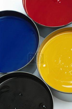 Tubs of process printing inks
