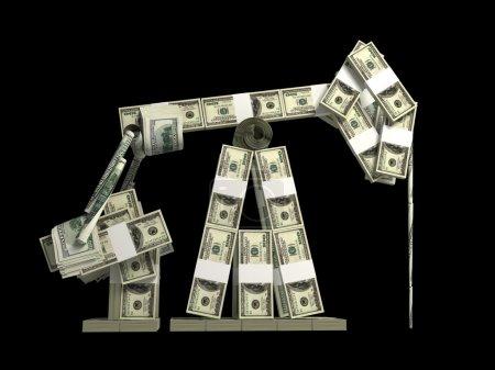 Oil derrick made from money