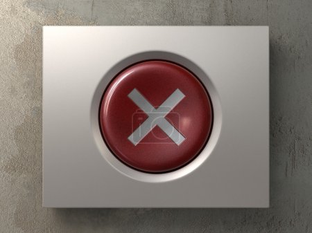 Red button with cross sign