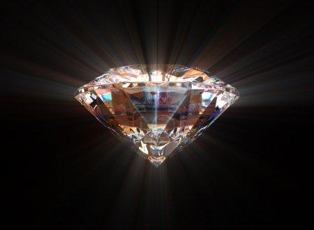 Photo pour Diamant avec un éclat sur un fond noir - image libre de droit